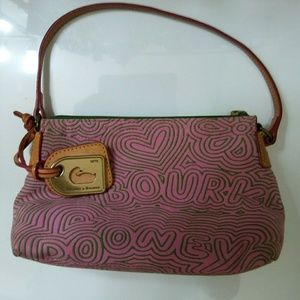 Dooney Bourke Purse Canvas Pink Gray Swirl Logo
